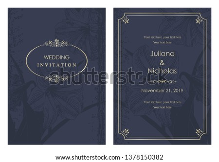 """Wedding  Invitation  with baroque pattern. Size: 5"""" x 7"""". Beautiful Victorian ornament. Blue and gold. Frame with floral elements.  The front and back side. Vector illustration."""