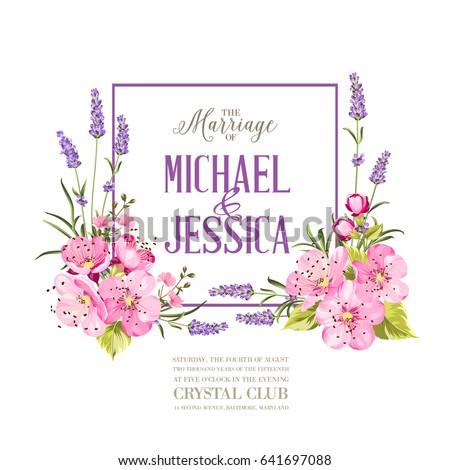 Wedding invitation with blossom cherry. Bridal shower invitation with white background. Vintage floral invitation for spring or summer bridal shower. Vector illustration. #641697088