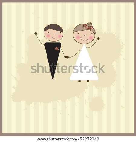 stock vector Wedding invitation with bride and groom Vector format