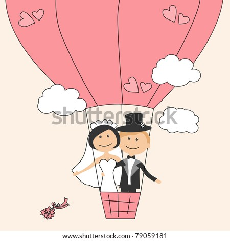 stock vector Wedding invitation with dancing funny bride and groom on air