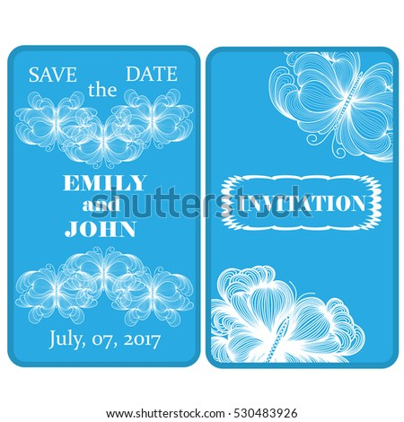 Wedding invitation with delicate butterflies in doodles art style. Hand-drawn template.