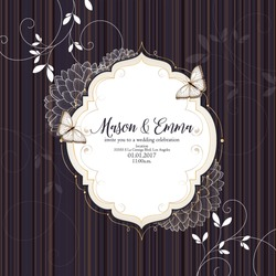 Wedding invitation with floral curls  in an antique style. Congratulations on your birthday, invitation card. Flower pattern. Frame with flowers dahlias. Element for creativity.