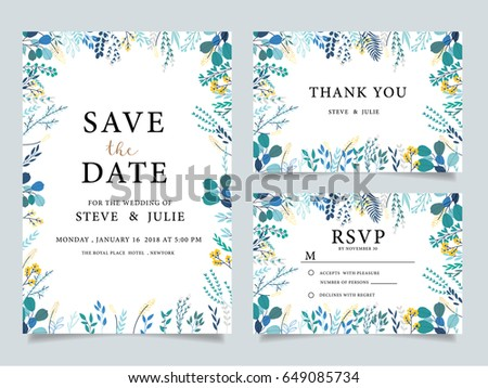 wedding invitation  with  flower Templates