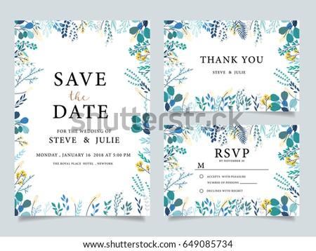 wedding invitation  with  flower Templates