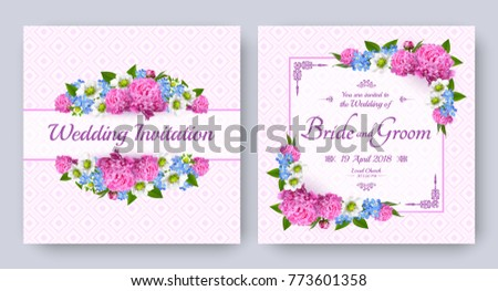 Wedding invitation with flowers of realistic peony, strawberry and forget-me-not. Floral vector card set for bridal shower, save the date and other marriage celebration