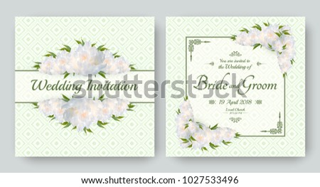 Wedding invitation with flowers of realistic white peony. Floral vector card set for bridal shower, save the date and other marriage celebration. Spring motive. #1027533496