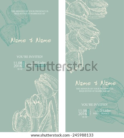 Wedding invitation with flowers. Tulips. Floral background in vintage style.