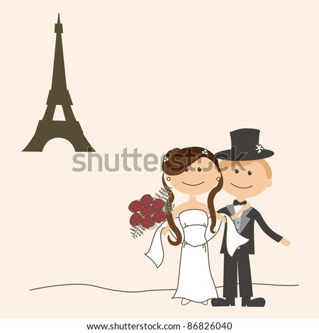 stock vector Wedding invitation with funny bride and groom