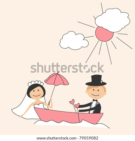 stock vector Wedding invitation with funny bride and groom in boat