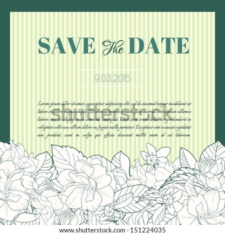 Wedding invitation with gardenia flowers