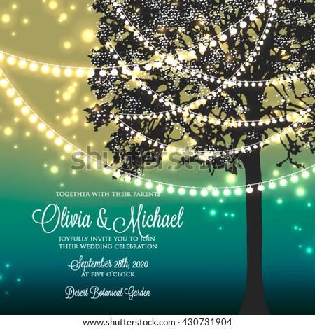 wedding invitation with glowing