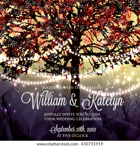 wedding invitation with glowing