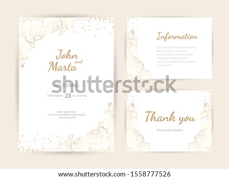 Wedding Invitation with Gold Flowers. background with geometric golden frame. Cover design with an ornament of golden leaves.Trendy templates for banner, flyer, poster, greeting. eps10