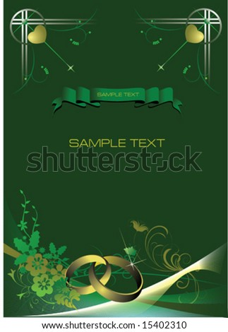 stock vector Wedding invitation with green background