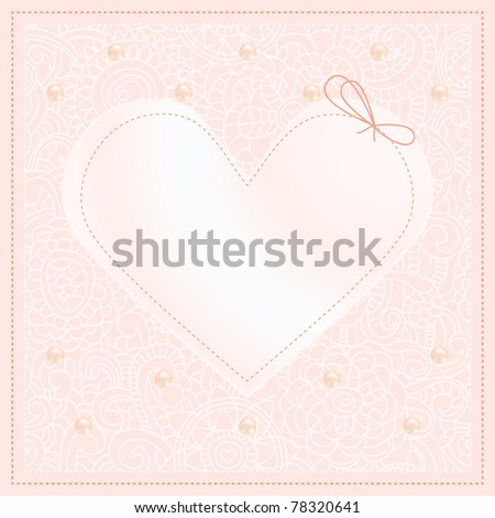 stock vector Wedding invitation with lace and pearls