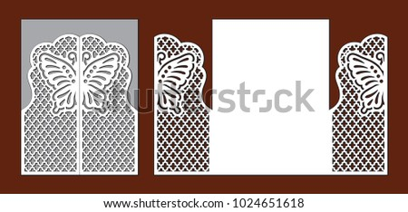 Wedding invitation with lace decoration. Fairy butterfly, grid and ornate ornament. Laser cutting template for party. Envelope for greeting card. Openwork vector silhouette of fold gate.