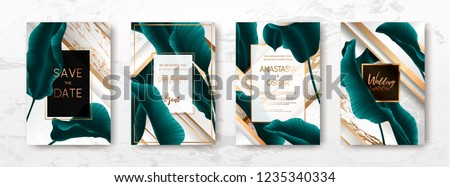 Wedding invitation with palm leaves, gold, black, white marble template, artistic covers design, colorful texture, modern backgrounds.Trendy pattern, graphic gold brochure.Luxury Vector illustration #1235340334