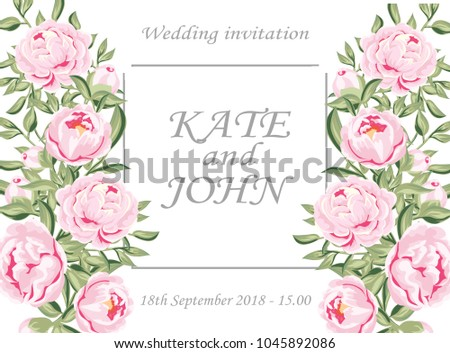 wedding invitation with peonies and lace, vector illustration. Wedding Invitation, floral invite thank you, rsvp modern card Design. delicate pink peonies in a white lace  #1045892086