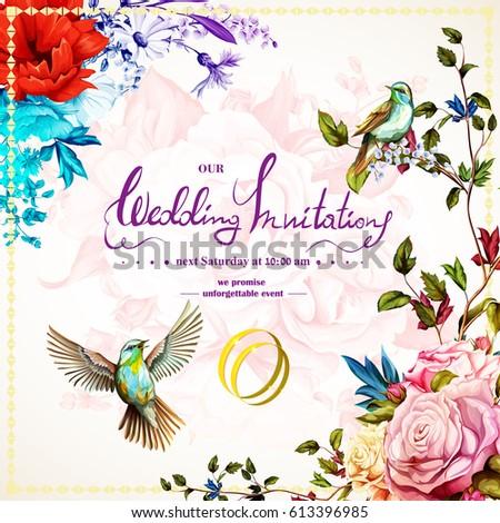 wedding invitation with roses ...