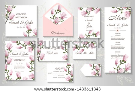 Wedding invitation with twig blooming Magnolia. Magnolia flowers, watercolor, isolated on white.  Vector Watercolour. #1433611343
