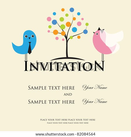 stock vector Wedding invitation with two cute birds in bride and groom