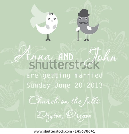 Wedding invitation with two cute birds in bride and groom costumes on the pastel background