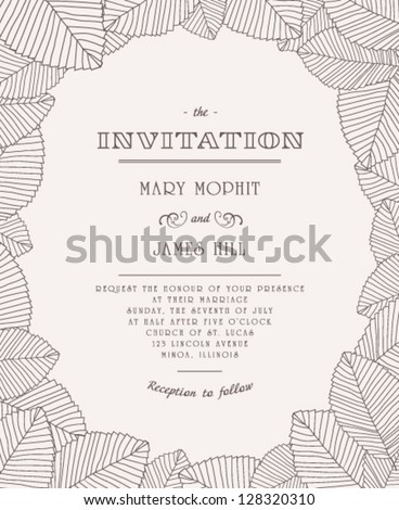 Wedding invitations and announcements. Vintage invitation with ornaments of leaves