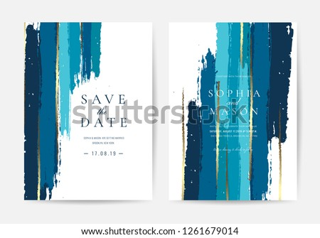 Wedding invitations and Card Template Design with Painted canvas indigo and gold foil in luxurious Turquoise And Gold style  Vector Illustration.