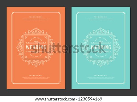 Wedding invitations cards design vector illustration. Wedding invite title vintage templates. #1230594169