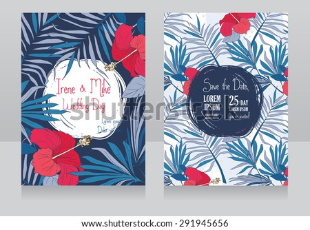 wedding invitations in tropical style, vector illustration - stock vector