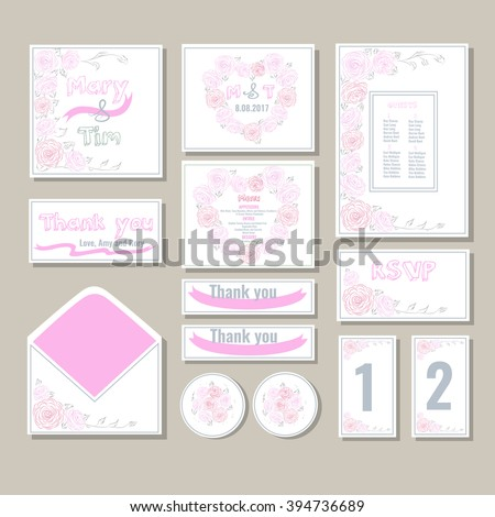 Wedding invitations with illustration of the pink roses.