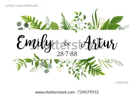 Wedding invite invitation card vector floral greenery design: Forest fern frond, Eucalyptus branch green leaves foliage herb greenery, berry frame, border. Poster, greeting Watercolor art illustration #724079932