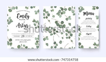 Free vector leaf pattern set download free vector art stock wedding invite invitation menu card vector floral greenery design forest eucalyptus branches green leaves stopboris Image collections