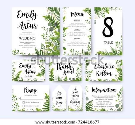 Wedding invite, invitation menu rsvp thank you card vector floral greenery design: Forest fern frond, Eucalyptus branch green leaves foliage herbs greenery berry frame border. Watercolor template set  #724418677