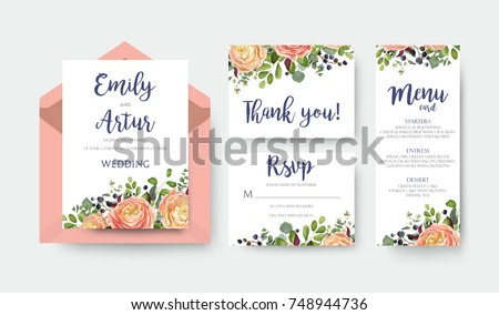 Wedding invite invitation menu thank you rsvp card vector floral design with pink peach garden Rose, ranunculus flower eucalyptus forest fern leaves bright pattern. Watercolor rustic style elegant set #748944736