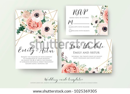 Wedding invite, invitation, rsvp, save the date card design with elegant lavender pink garden rose anemone, wax flowers eucalyptus branches leaves, cute golden geometrical pattern. Vector template set #1025369305