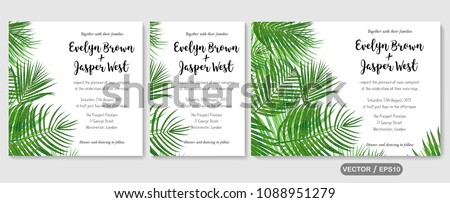 Wedding invite, invitation rsvp thank you card vector floral greenery design: Forest tropical palm leaf Areca branch green, foliage herbs elegant frame border. Watercolor cute set