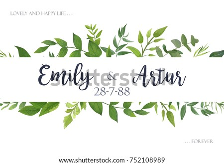 Free foliage vectors download free vector art stock graphics images wedding invite invitation save the date card design with green leaves greenery eucalyptus foliage stopboris Image collections