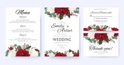 Wedding invite, invitation, save the date card with vector floral bouquet frame design: garden red, burgundy Rose flower, white peony, seeded Eucalyptus branches, amaranthus & silver green fern leaves