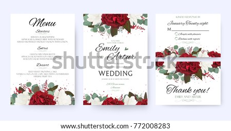 Wedding invite, invitation, save the date card with vector floral bouquet frame design: garden red, burgundy Rose flower, white peony, seeded Eucalyptus branches, amaranthus & silver green fern leaves #772008283