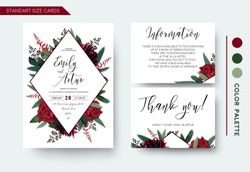Wedding invite, invitation save the date thank you information cards set. Vector watercolor floral bouquet rhombus frame design: red burgundy Rose flower, green leaves Eucalyptus branch & cute berries