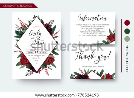 Stock Photo Wedding invite, invitation save the date thank you information cards set. Vector watercolor floral bouquet rhombus frame design: red burgundy Rose flower, green leaves Eucalyptus branch & cute berries