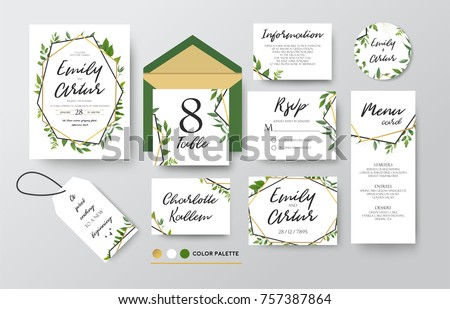 Wedding invite, menu, rsvp, thank you label save the date card Design with forest green leaves various greenery foliage, eucalyptus, fern & golden geometric frame. Vector rustic delicate chic layout   #757387864