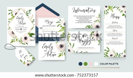 Wedding invite, menu, rsvp, thank you label save the date card Design with white, pink anemone flowers, green leaves greenery foliage bouquet & golden frame. Vector cute rustic delicate chic layout.   #752373157