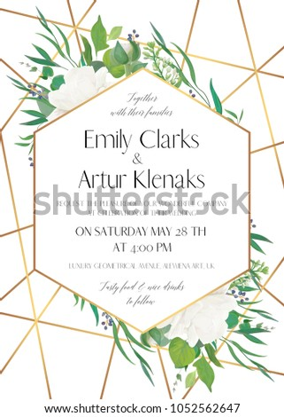 Wedding invite, save the date card delicate design with natural greenery eucalyptus leaves, white roses, berries & golden foil stripes, geometrical decoration. Elegant, lovely, luxury vector template  #1052562647