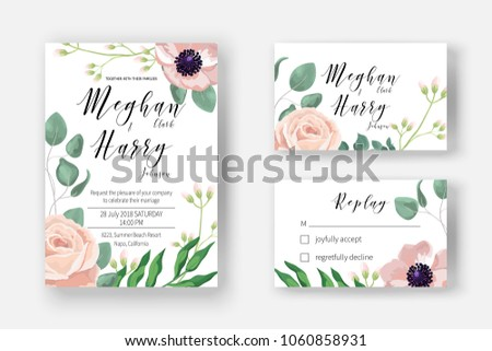 Wedding invite template with watercolor pink powder rose, baby blue eucalyptus for marriage rsvp reply. Cards with leaves, branch, greenery. Decorative design elements in elegant rustic boho style. #1060858931