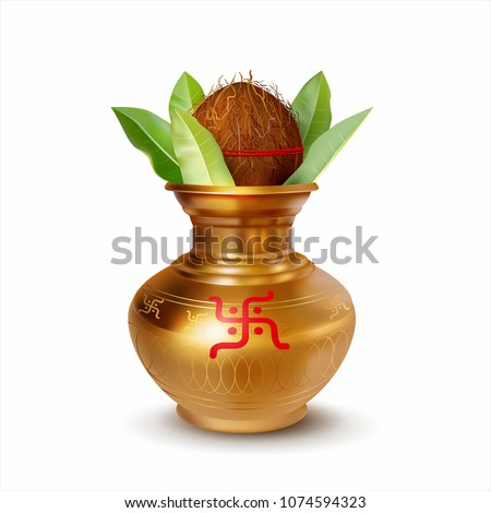 Wedding Kalash isolated on white. Hindu and Jain symbol of abundance, wisdom, and immortality. Vector illustration.