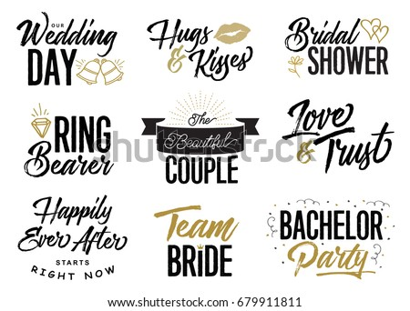 wedding lettering phrases vector set our wedding day hugs kisses bridal shower