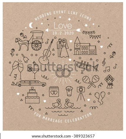 WEDDING LINE ART ICONS COLLECTION. Can be used for wedding invitation design, cards, websites and more... Editable vector illustration file. #389323657