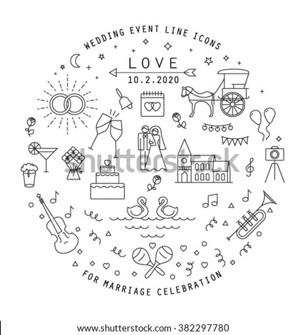 WEDDING LINE ICONS COLLECTION. Can be used in wedding invitation design, cards, websites,blogs and more... Editable vector illustration file. #382297780